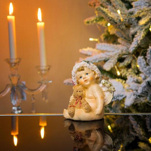Ангел новогодний сидящий с мишкой: букеты цветов на заказ Flowwow