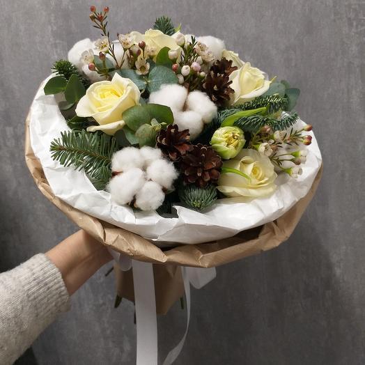 """Зимний букет """"Snow-white"""": букеты цветов на заказ Flowwow"""