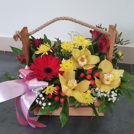 Стильный ящичек с орхидеей: букеты цветов на заказ Flowwow