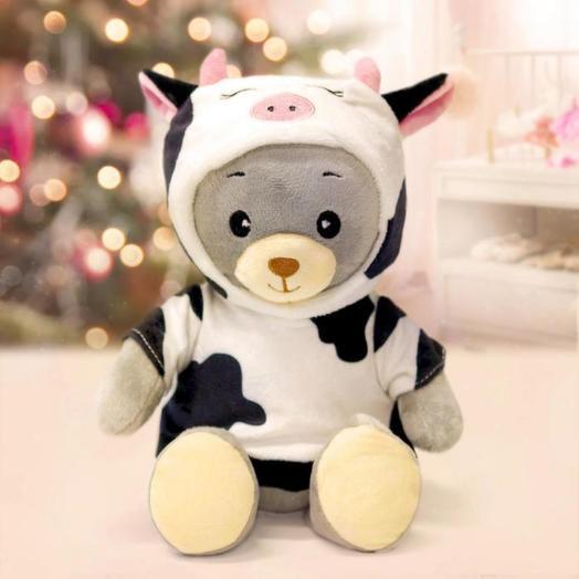 Медведь «МИШКА ЛАППИ», в костюме коровы, сидит, 22 см