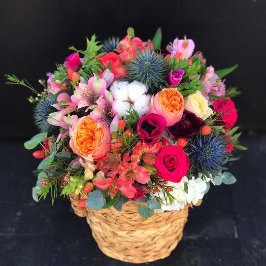 Original basket with alstroemeria