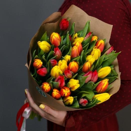 35 тюльпаны яркий микс