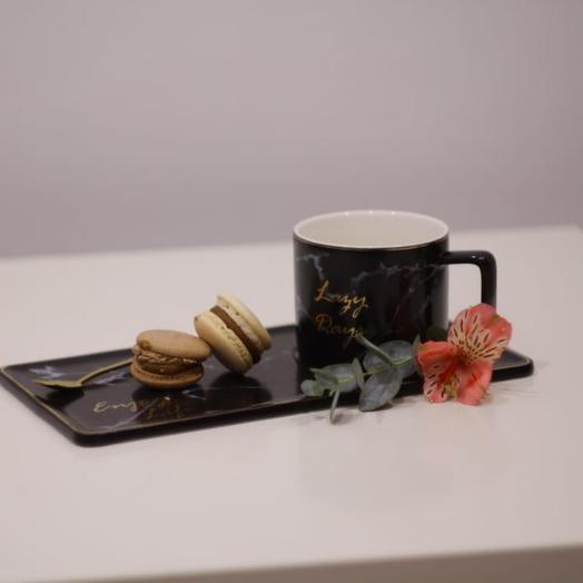 Набор кружка+ложка+блюдце под десерт