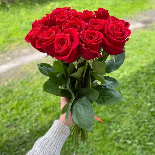 15 красных  роз 60см
