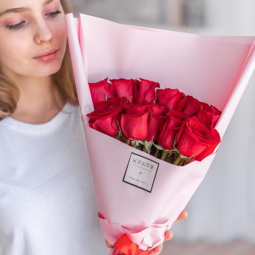 11 роз pink