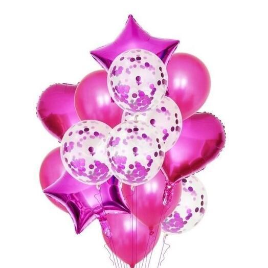 Фонтан воздушных шаров розовый хром