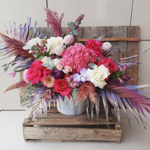 """Цветы в коробке """"Малинелла"""""""
