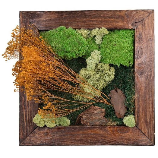 Настенная картина из стабилизированных растений GOLDEN BLUM: букеты цветов на заказ Flowwow