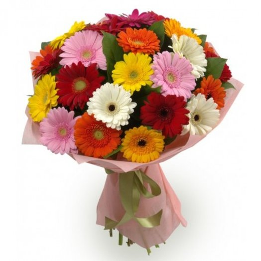 21 гербера с зеленью: букеты цветов на заказ Flowwow