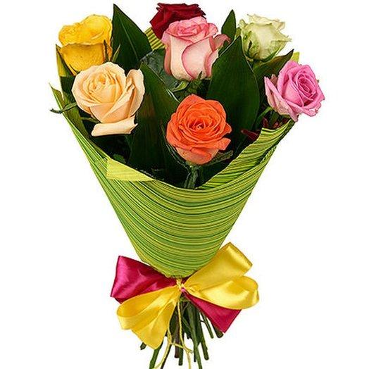 7 роз микс в упаковке. Код 180049: букеты цветов на заказ Flowwow