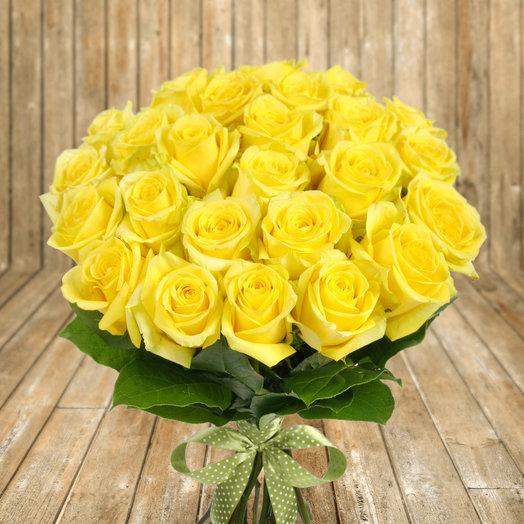 """Букет из 25 желтых роз """"Хаммер"""": букеты цветов на заказ Flowwow"""