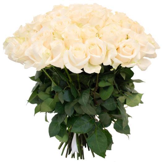 Букет из 51 белой розы 50 см: букеты цветов на заказ Flowwow