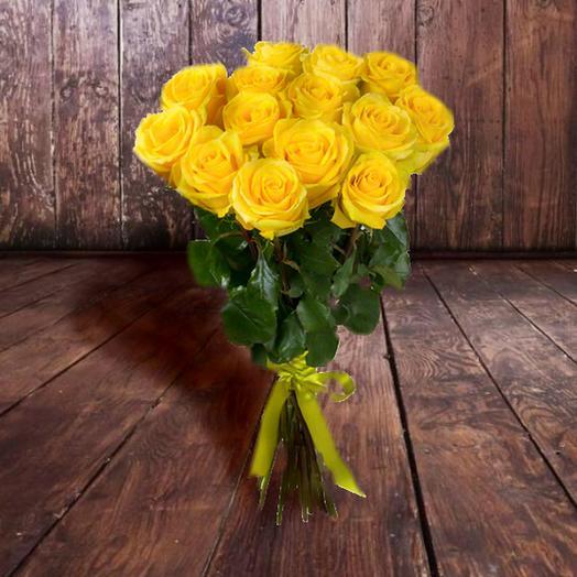 Букет из солнечных желтых роз