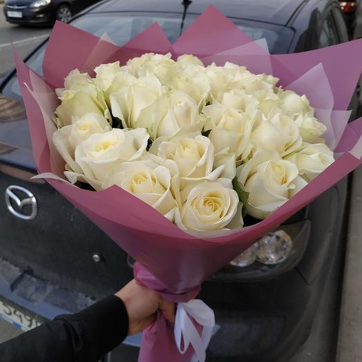 Нежный букет из 29 роз: букеты цветов на заказ Flowwow