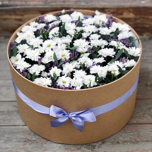 Огромная композиция с цветами в коробке с крышкой: букеты цветов на заказ Flowwow