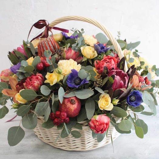 Летняя цветочная корзина: букеты цветов на заказ Flowwow