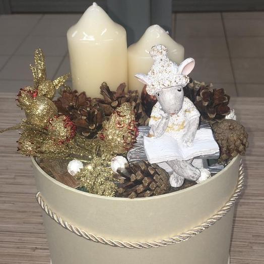 Шляпная коробка с мышкой: букеты цветов на заказ Flowwow