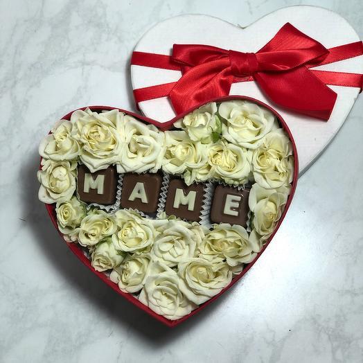 Коробочка с шоколадными буквами МАМЕ: букеты цветов на заказ Flowwow