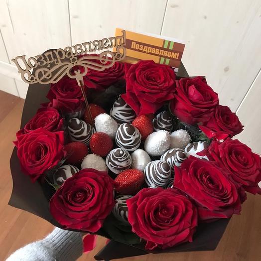 Клубничный букет «Италия»: букеты цветов на заказ Flowwow