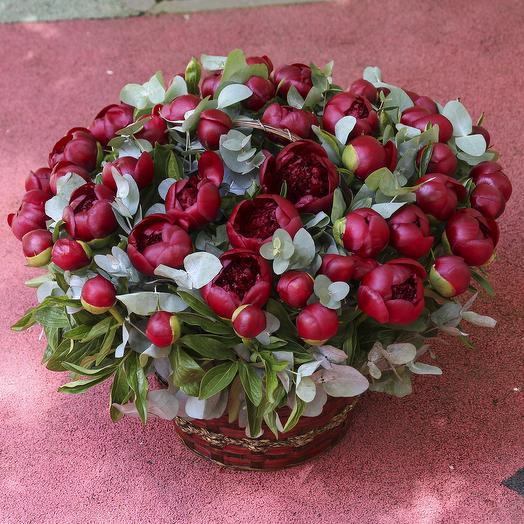 51 красный пионы с эвкалиптом в корзине: букеты цветов на заказ Flowwow
