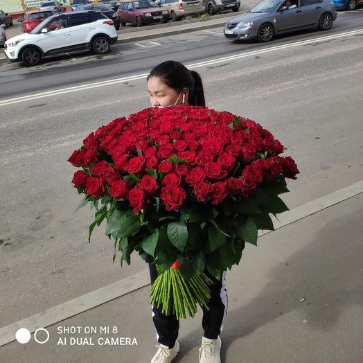 201штук роза красная Премиум