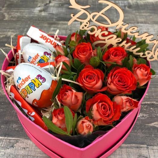 Сердце с розами и сладостями