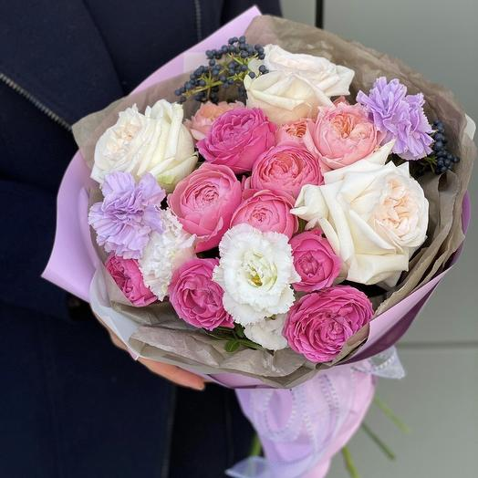 Bouquet of peony Bush and one-headed rose, eustoma, Dianthus and viburnum Marzipan souffle