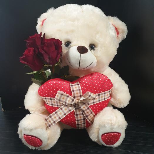"Мишка ""Люблю"" с 3 розами"