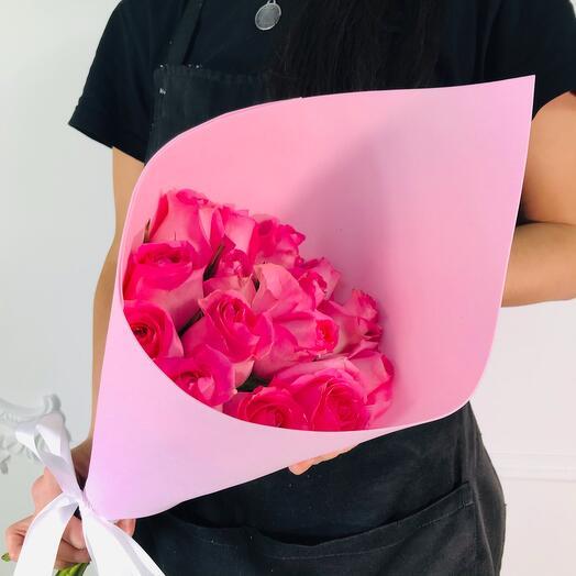 Букет из 15 Розовых роз (шар сердце в подарок, условие в описании)