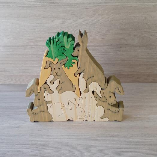 """Деревянный пазл из кедра ручной работы """"Горка из зайцев"""", 11 элементов"""