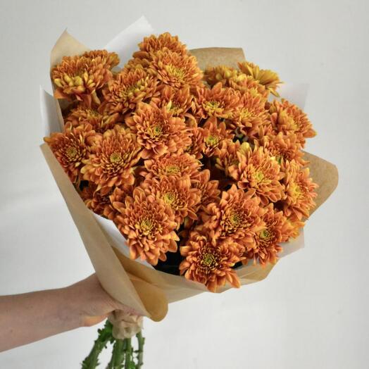 5 рыжих хризантем