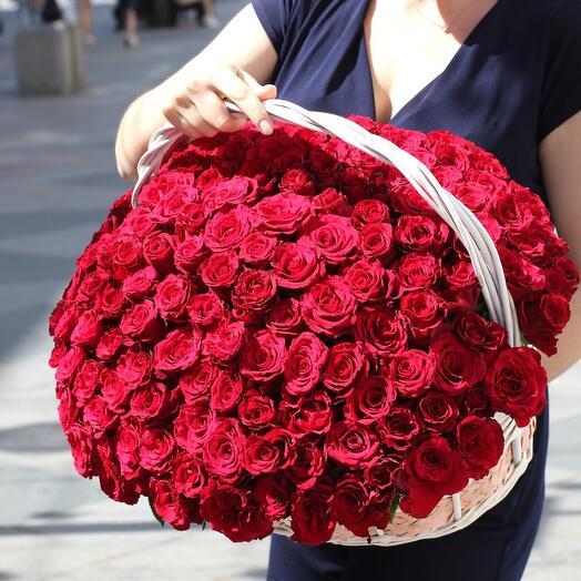 151 красная роза премиум в корзине