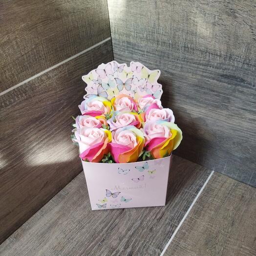 Букет цветов - розы из мыла