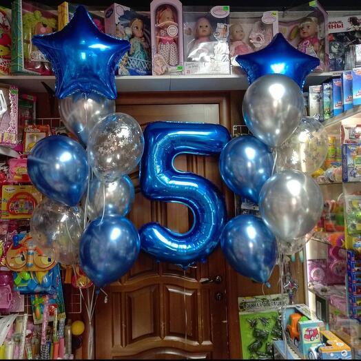 """Набор из 16 шаров""""5 лет"""" в синем цвете"""