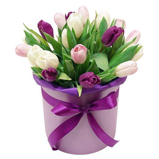 Коробочка с тюльпанами 5: букеты цветов на заказ Flowwow