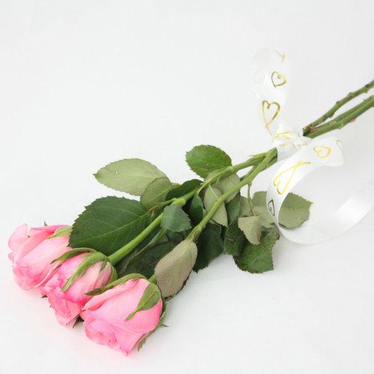 3 розовые розы: букеты цветов на заказ Flowwow