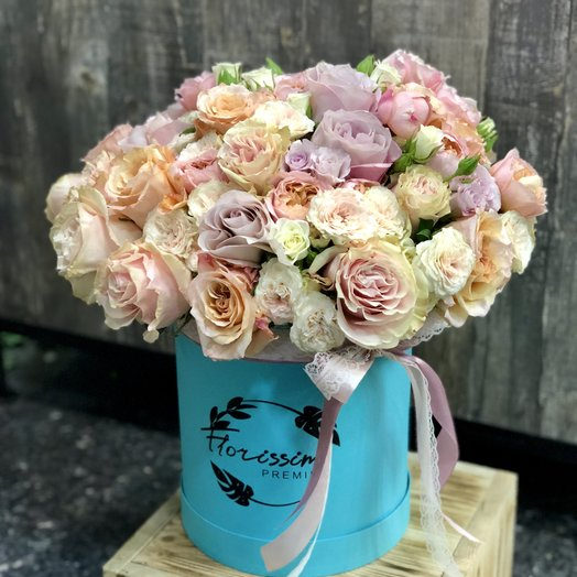 """Букет в шляпной коробке """"Полина"""": букеты цветов на заказ Flowwow"""