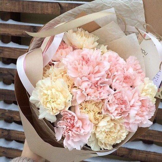 Диантусы в крафт бумаге: букеты цветов на заказ Flowwow