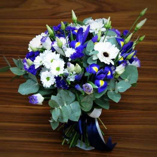 Морской букет из ирисов и гербер: букеты цветов на заказ Flowwow