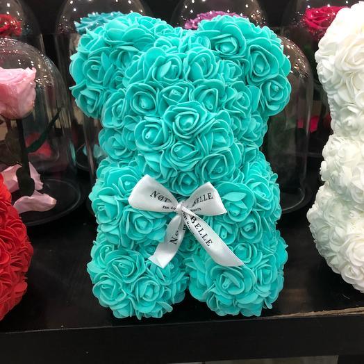 Мишка из роз цвета Тиффани: букеты цветов на заказ Flowwow