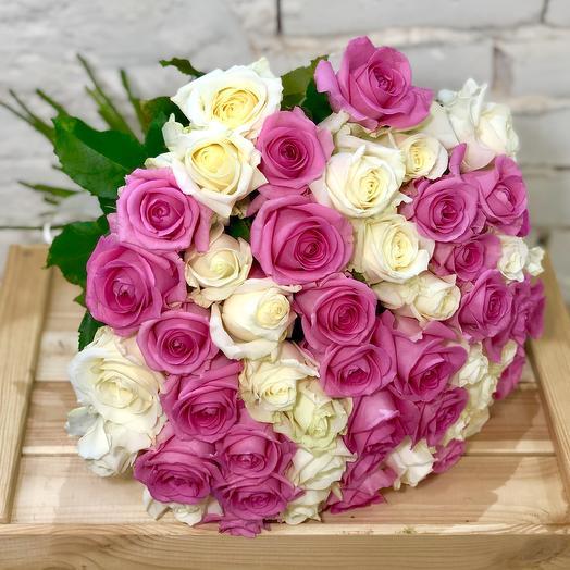 51 роза бело-розовый Микс
