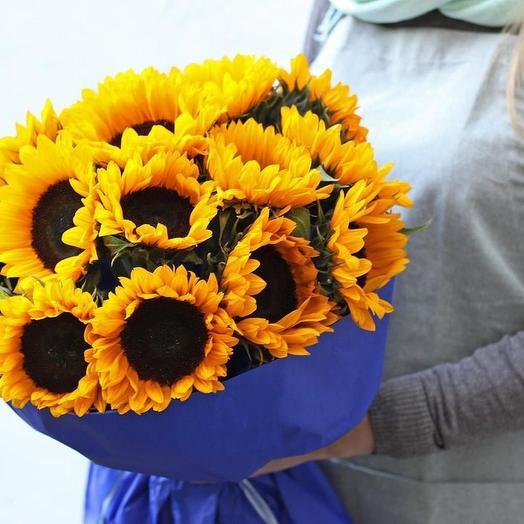 Подсолнухи 15 шт: букеты цветов на заказ Flowwow