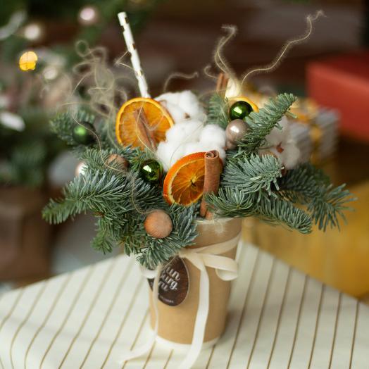 Цветы в стаканчике «Ореховый латте»: букеты цветов на заказ Flowwow
