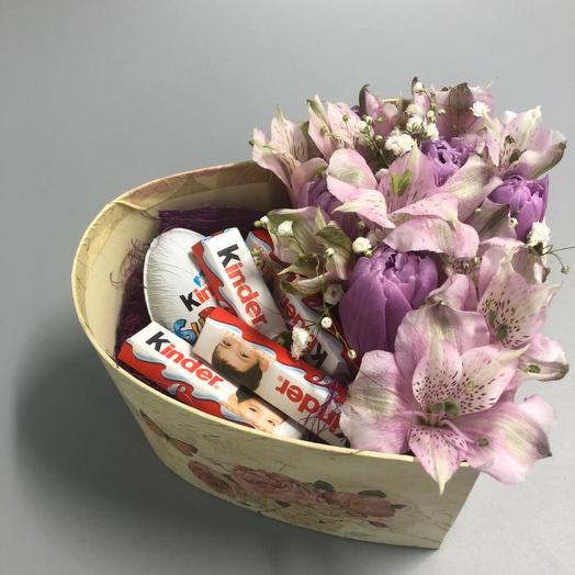 Сердце с киндером: букеты цветов на заказ Flowwow