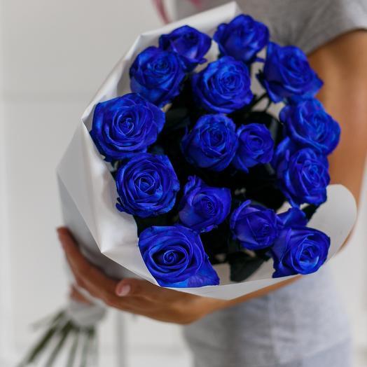 Синие розы - 15 шт