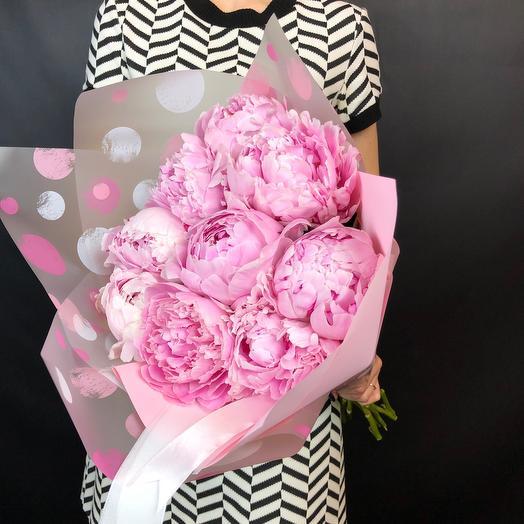 Средний букет пионов Сара Бернар: букеты цветов на заказ Flowwow