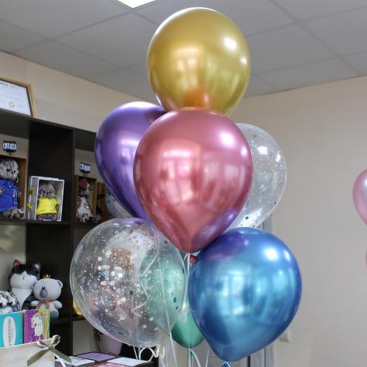 Bright fountain of balloons
