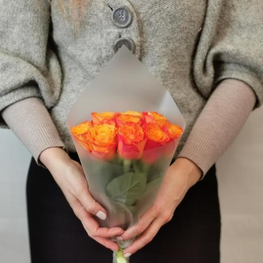 Роза 40 см оранж 9