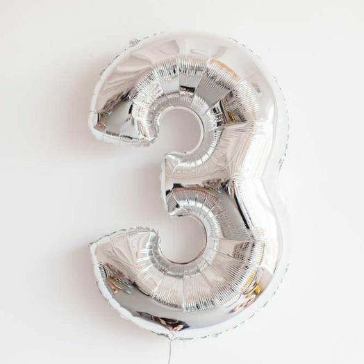 """Фольгированная цифра 3""""Серебро"""""""