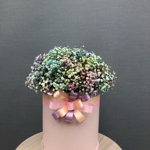 Цветы в коробке радужная 15